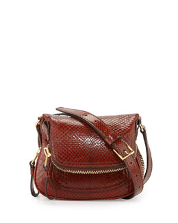 Tom Ford Jennifer Mini Python Crossbody Bag, Brown