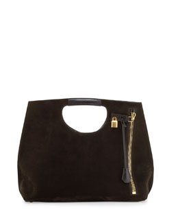 Tom Ford Alix Zip & Padlock Suede Shopper Tote Bag, Dark Brown