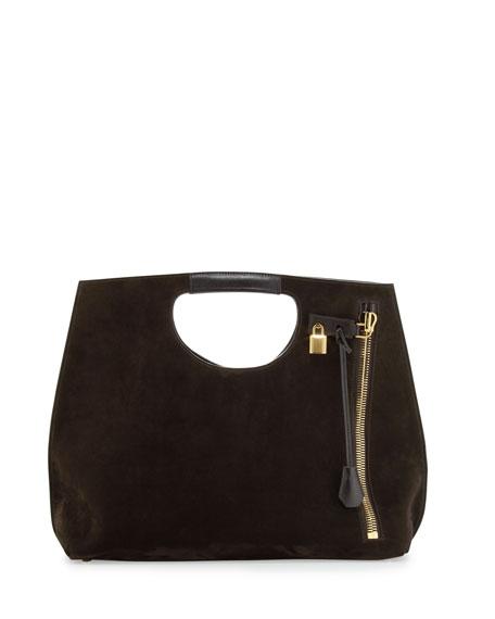 Alix Zip & Padlock Suede Shopper Tote Bag, Dark Brown