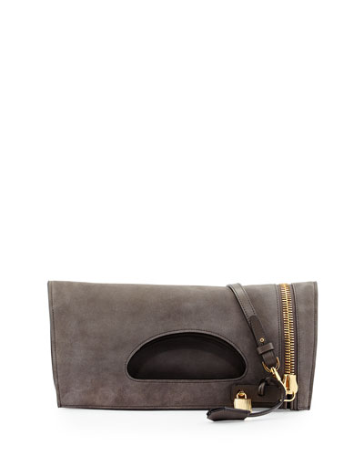 Tom Ford Alix Suede Zip & Padlock Crossbody Bag, Graphite (Dark Gray)