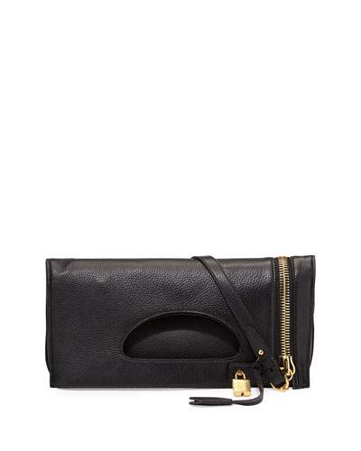 Tom Ford Alix Zip & Padlock Crossbody Bag, Black