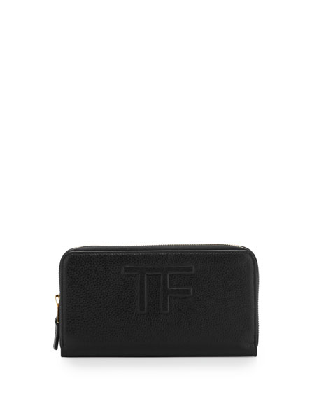 TOM FORD Zip-Around Logo Continental Wallet, Black