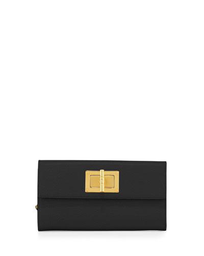 Natalia Continental Turn-Lock Wallet, Black