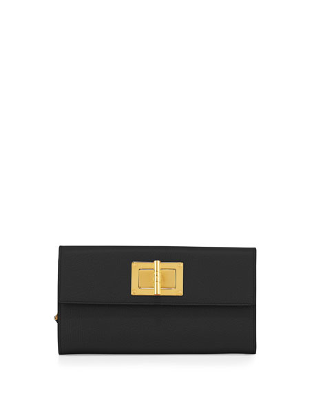 TOM FORDNatalia Continental Turn-Lock Wallet, Black