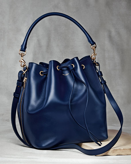 Medium Bucket Shoulder Bag, Navy