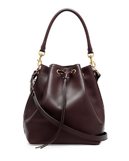 Saint Laurent Medium Bucket Shoulder Bag, Bordeaux
