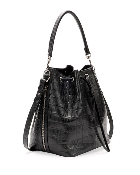 Medium Croc-Print Bucket Shoulder Bag, Black