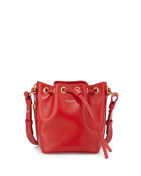 Saint Laurent Small Bucket Crossbody Bag, Red