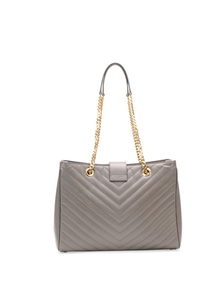 Monogram Matelasse Shopper Bag, Gray