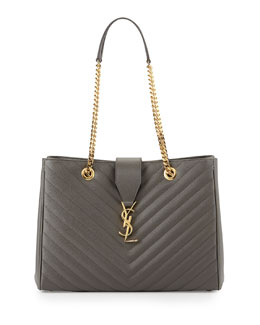 Saint Laurent Monogramme Matelasse Shopper Bag, Gray