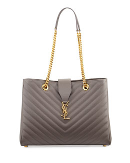 Saint Laurent Monogramme Matelasse Shopper Bag, Dark Beige