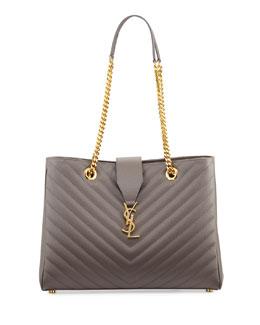 Saint Laurent Monogramme Matelasse Shopper Bag, Dark Beige