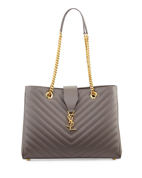 Saint Laurent Monogram Matelasse Shopper Bag, Dark Beige