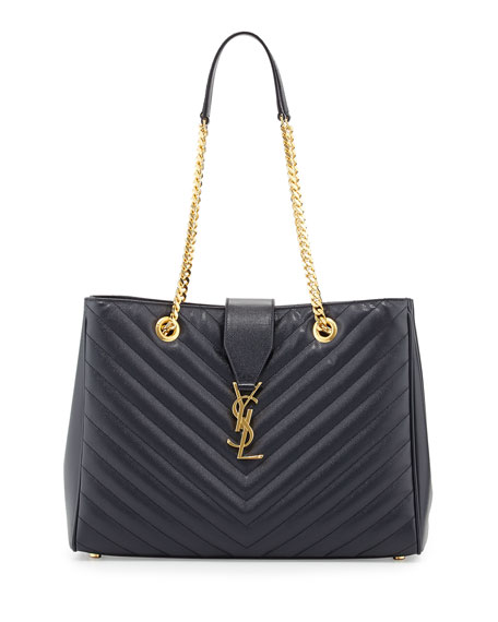 Monogram Matelasse Shopper Bag, Navy