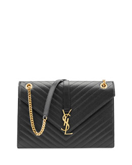 Saint Laurent Monogramme Matelasse Shoulder Bag, Black