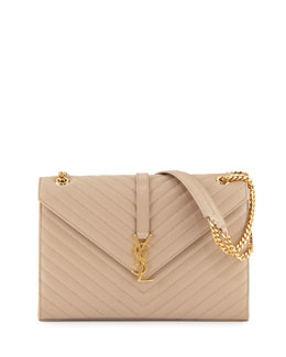 Saint Laurent Monogramme Matelasse Shoulder Bag, Dark Beige