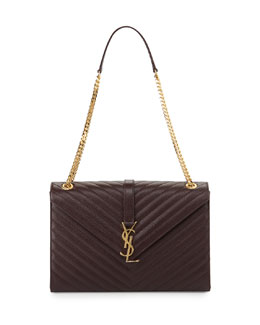 Saint Laurent Monogramme Matelasse Shoulder Bag, Bordeaux