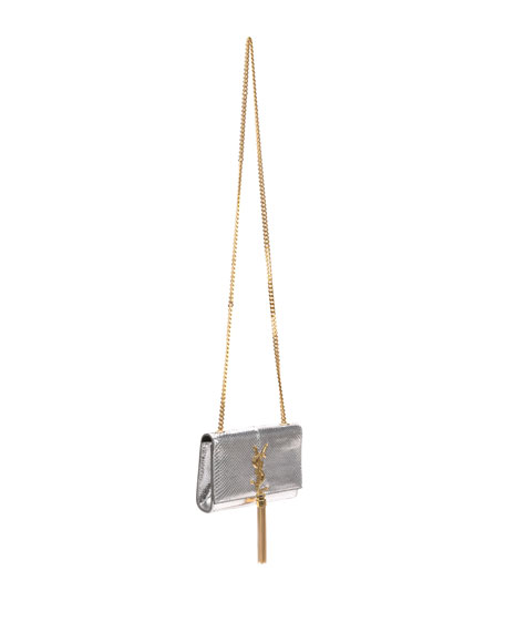 Cassandre Small Metallic Python Crossbody Bag, Python