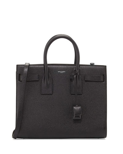Saint Laurent Sac de Jour Grained Carryall Bag, Black