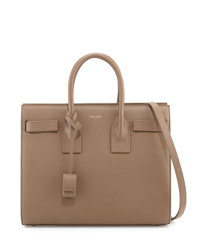 Saint Laurent Sac de Jour Small Grained Carryall Bag, Taupe