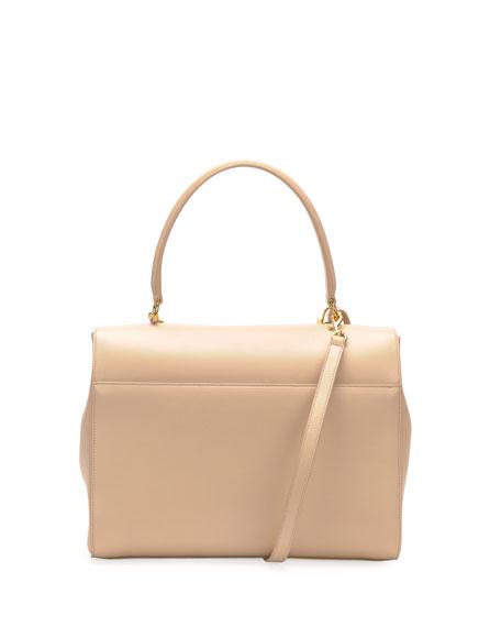 Moujik Large Calfskin Satchel Bag, Nude