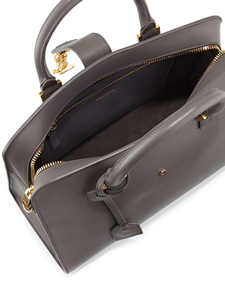 Monogram Small Zip-Around Satchel Bag, Gray