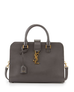 Saint Laurent Monogramme Small Zip-Around Satchel Bag, Gray