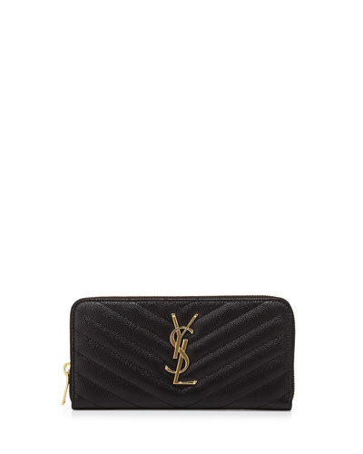 Monogram Matelasse Zip Wallet, Black