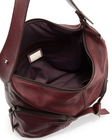 Farrah Leather Hobo Bag, Bordeaux