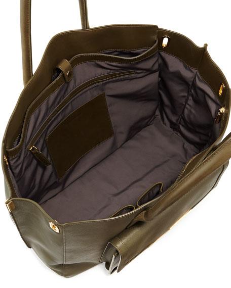 Jo Saffiano Leather Tote Bag, Militaire