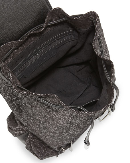 Stingray-Embossed Backpack, Black