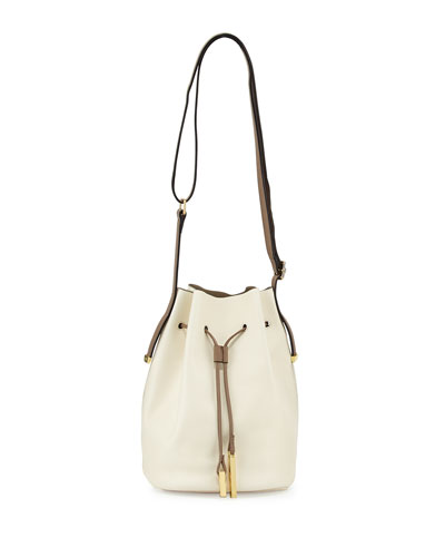 Halston Heritage City Casual Leather Bucket Bag, Chalk Multi