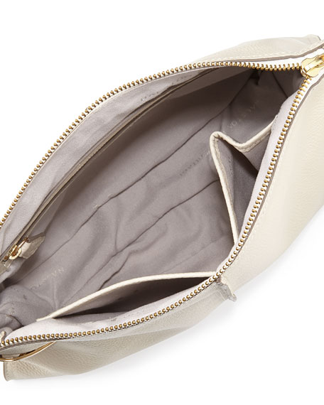 Large Leather Zip Wristlet, Chalk