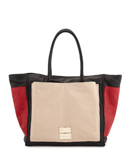 See by Chloe Nellie Large Colorblock Tote Bag, Black/Tango/Pearl