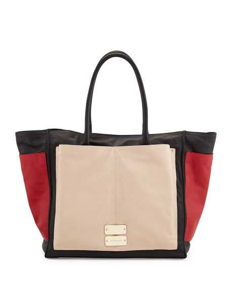 Nellie Large Colorblock Tote Bag, Black/Tango/Pearl