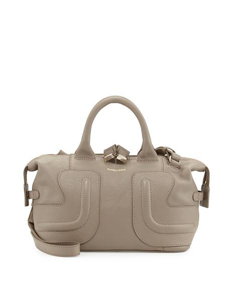 Kay Leather Satchel Bag, Stone