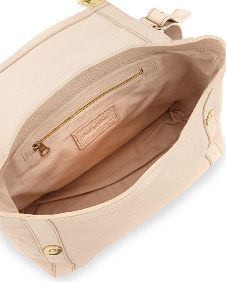Jill Medium Pebbled Satchel Bag, Pearl