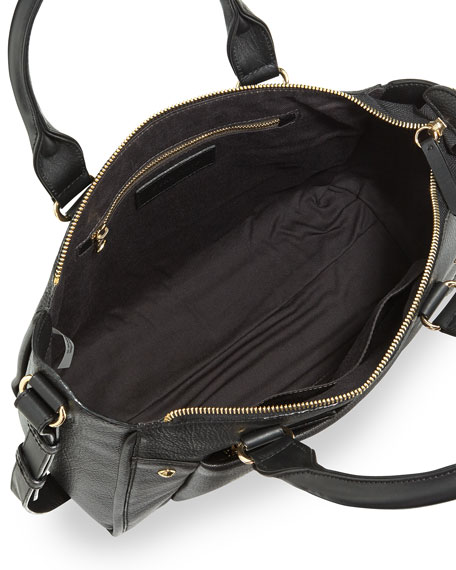 Keren Small Leather Satchel Bag, Black