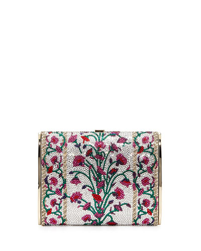 Judith Leiber Couture Archive Floral-Print Crystal Minaudiere, Rhine Multi