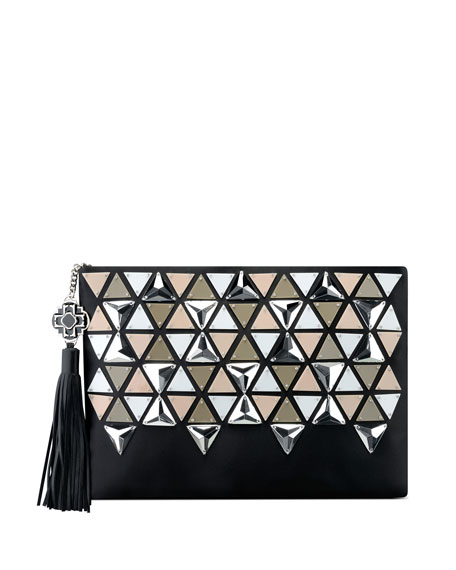 Celia Large Satin Triangle Clutch Bag, Black