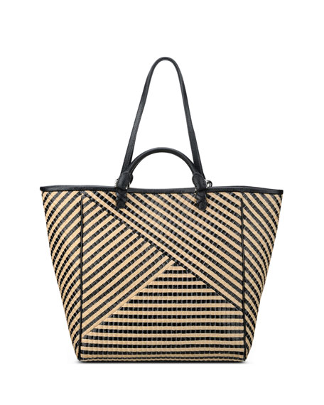 Joey Striped Jute Tote Bag, Black/Tan