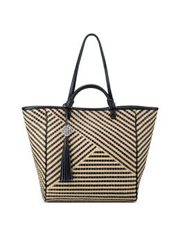Rafe Joey Striped Jute Tote Bag, Black/Tan