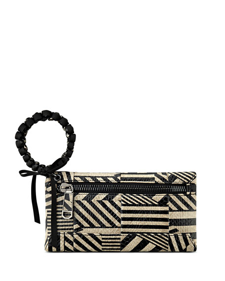 Celia Snakeskin Bracelet Clutch Bag, Black