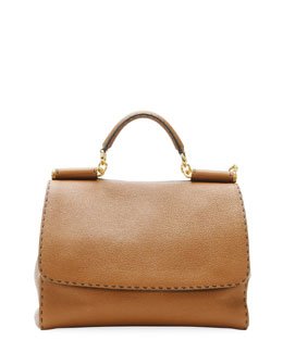 Dolce & Gabbana Miss Sicily Large Leather Satchel Bag, Camel