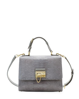 Dolce & Gabbana Monica Lizard Lock Satchel Bag, Light Gray