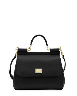 Dolce & Gabbana Miss Sicily Leather Satchel Bag, Black