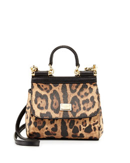Dolce & Gabbana Miss Sicily Mini Leopard-Print Crossbody Bag, Nude/Black