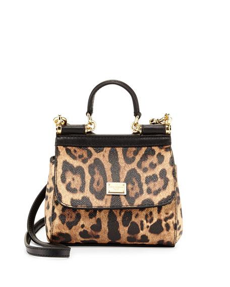 Miss Sicily Mini Leopard-Print Crossbody Bag, Nude/Black