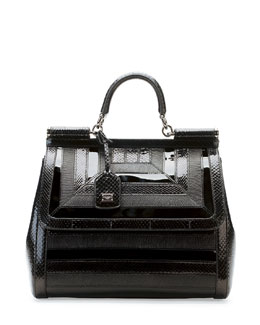 Dolce & Gabbana Miss Sicily Snake & Lizard Satchel Bag, Black