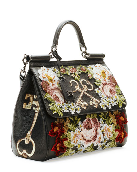 Miss Sicily Embroidered Keys Satchel Bag Black